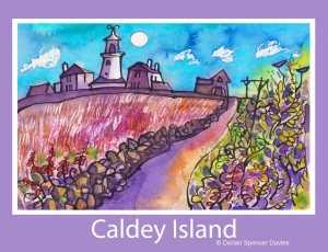 Caldey Lighthouse Poster Print